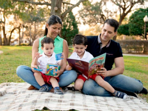 family reading children's books