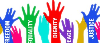 colorful hands with human rights titles